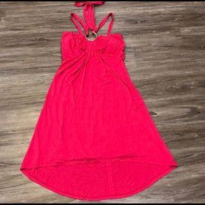 Cache Hot Pink Halter/Strap Hi-Low Dress Sz Small